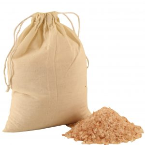 Salt Granules in Cotton Bag